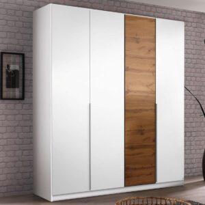 Armoire BELLO 4 portes blanc alpin/chêne wotan