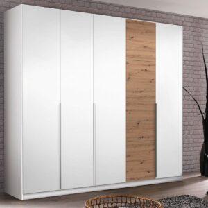 Armoire BELLO 5 portes blanc alpin/chêne wotan