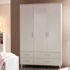 Armoire AIDA 3 portes et 4 tiroirs blanc