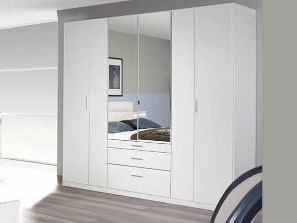 Armoire FRIEDA 6 portes 3 tiroirs 226 cm blanc
