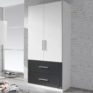 Armoire ALVARO 2 portes 2 tiroirs blanc/gris métal sans miroir