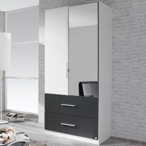 Armoire ALVARO 2 portes 2 tiroirs blanc/gris lave avec miroir