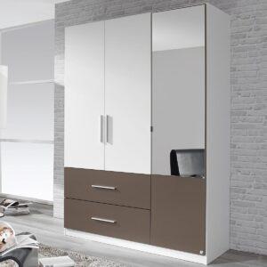 Armoire ALVARO 3 portes 2 tiroirs blanc/gris lave avec miroir