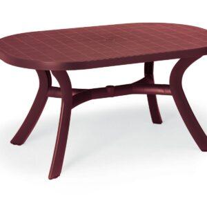 Table de jardin ovale KAZAK 145 cm bordeaux