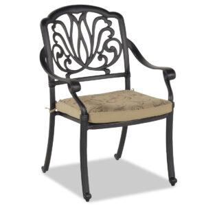 Chaise de jardin AMMELOU marron avec coussin