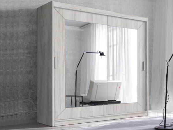 Armoire ALHAMBRA 2 portes coulissantes 200 cm pin canyon arctique avec miroir