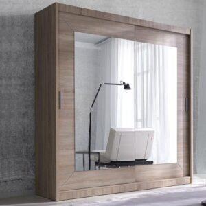 Armoire ALHAMBRA 2 portes coulissantes 180 cm sonoma clair avec miroir