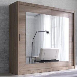 Armoire ALHAMBRA 2 portes coulissantes 200 cm sonoma clair avec miroir