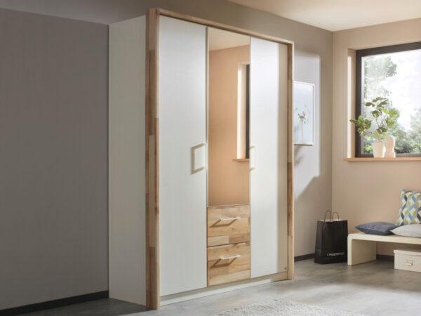 Armoire PARTIZAN 3 portes 2 tiroirs blanc alpin/chêne montana