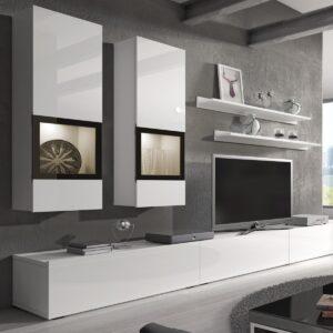 Mur tv-hifi BABEL 5 portes blanc/blanc laqué sans led