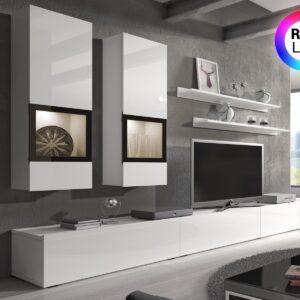 Mur tv-hifi BABEL 5 portes blanc/blanc laqué avec led