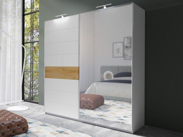 Armoire AMOUR 2 portes coulissantes 180 cm blanc/chêne grandson avec miroir