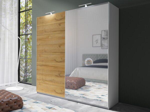 Armoire AMOUR 2 portes coulissantes 180 cm chêne grandson avec miroir