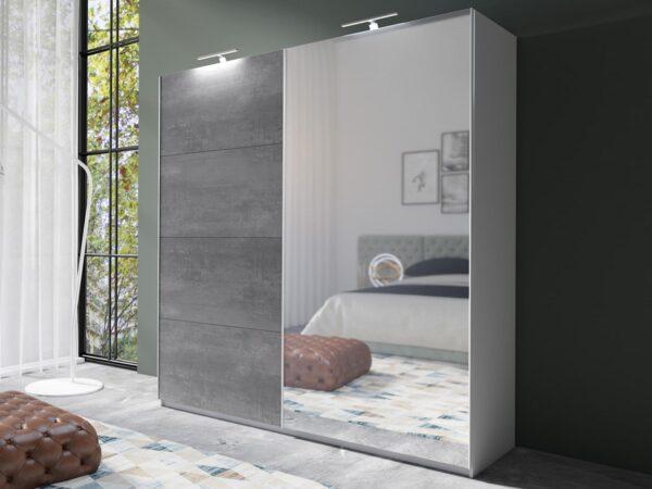 Armoire AMOUR 2 portes coulissantes 180 cm blanc/béton foncé avec miroir