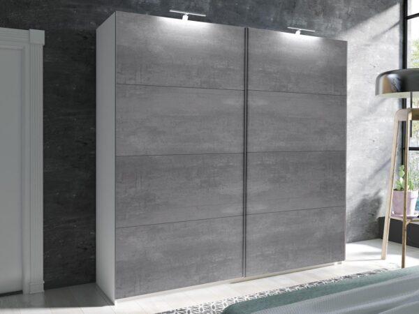 Armoire AMOUR 2 portes coulissantes 180 cm blanc/béton foncé sans miroir