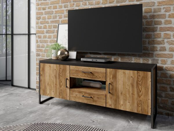 Meuble tv-hifi TARO 2 portes 2 tiroirs 154 cm chêne canyon/noir sans led