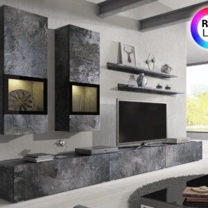 Mur tv-hifi BABEL 5 portes ardoise colorée avec led