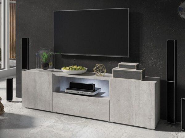 Meuble tv-hifi DOLES 3 portes 1 tiroir béton colorado