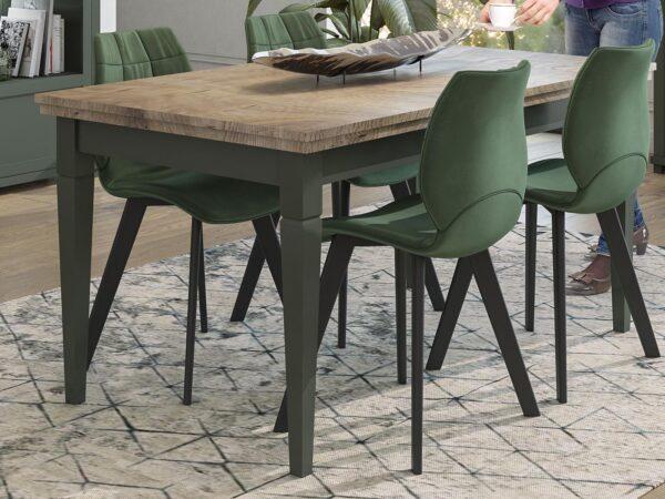 Table repas extensible EVOCO 160 > 240 cm chêne ribbec/vert