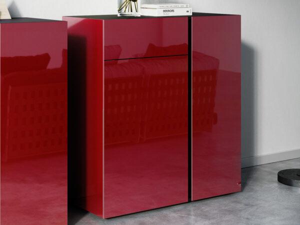 Commode MESART 2 portes 1 tiroir graphite/rubis