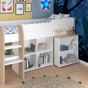 Lit combiné FINNEAS 90x200 cm blanc/chêne jackson