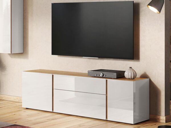 Meuble TV-hifi MESART 3 portes 1 tiroir chêne navarra/cachemire