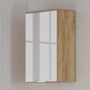 Étagère murale AVIA 1 porte chêne navarra/blanc brillant