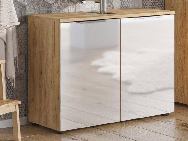 Meuble sous-lavabo AVIA 2 portes chêne navarra/blanc brillant