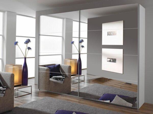 Armoire QUATUOR 2 portes 271 cm blanc/miroir