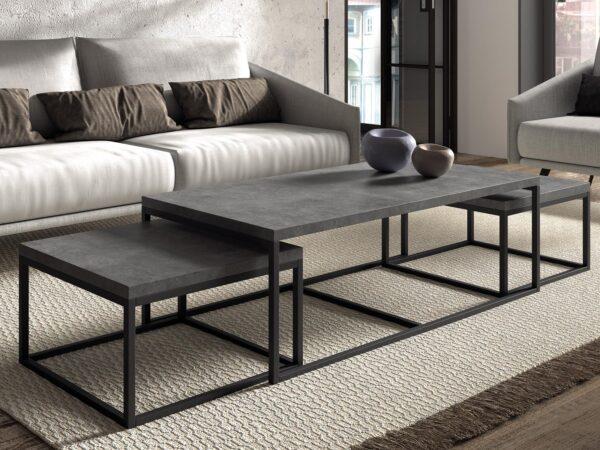 Tables basses gigognes FACTORY 120 cm béton