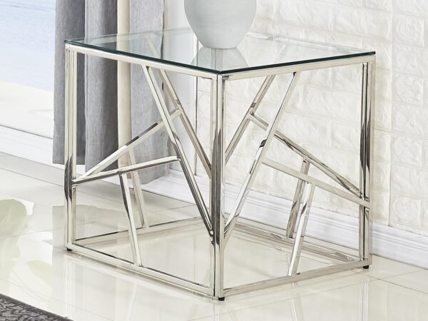 Table d'appoint MADERE 55 cm argent