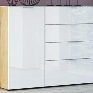 Buffet/bahut OAKLAIR 1 porte 4 tiroirs chêne navarra/blanc