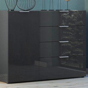 Buffet/bahut OAKLAIR 1 porte 4 tiroirs noir/noir laqué