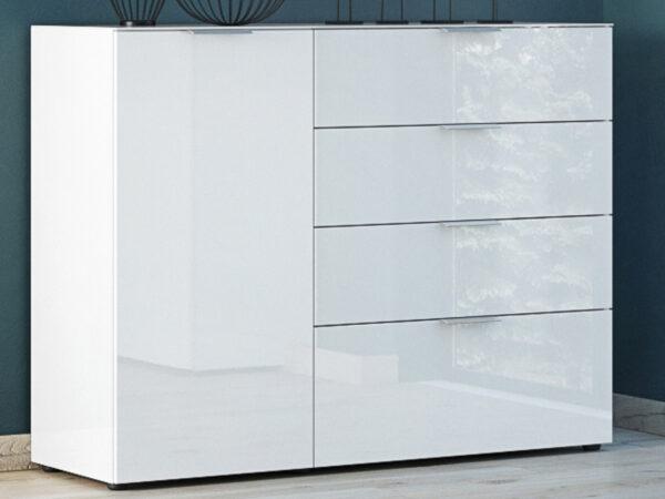 Buffet/bahut OAKLAIR 1 porte 4 tiroirs blanc