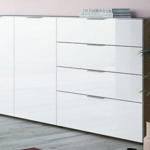 Buffet/bahut OAKLAIR 2 portes 4 tiroirs chêne navarra/blanc