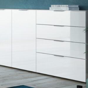 Buffet/bahut OAKLAIR 2 portes 4 tiroirs blanc