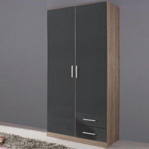 Armoire ALBANO 2 portes 2 tiroirs (droite) sanremo/gris métal