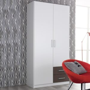Armoire ALBANO 2 portes 2 tiroirs (droite) blanc/gris lave
