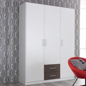 Armoire ALBANO 3 portes 2 tiroirs blanc/gris lave
