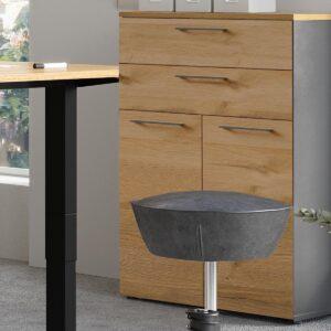 Armoire AGENDARME 2 portes 2 tiroirs chêne grandson/graphite
