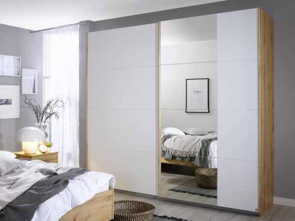 Armoire COLUMBO 2 portes coulissantes 226 cm chêne wotan/blanc alpin avec miroir