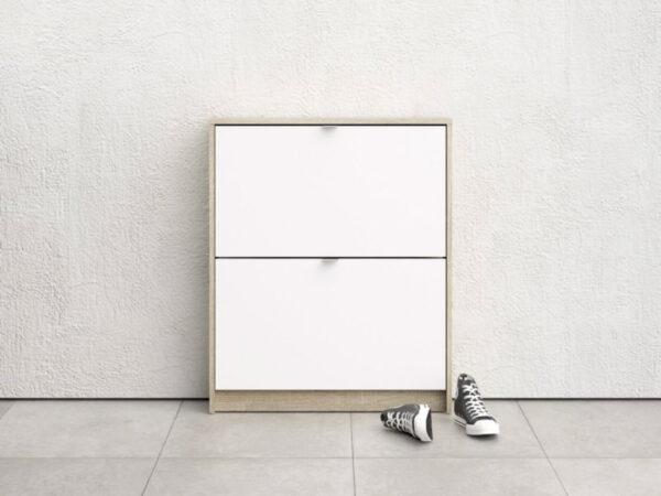 Meuble à chaussures SEAN 2 portes blanc/chêne