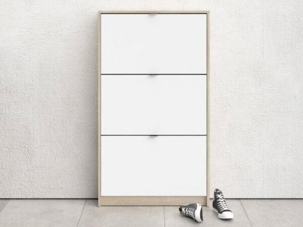 Meuble à chaussures SEAN 3 portes blanc/chêne