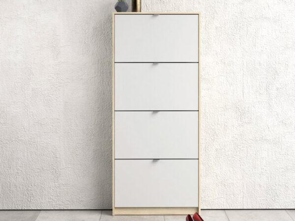 Meuble à chaussures SEAN 4 portes blanc/chêne