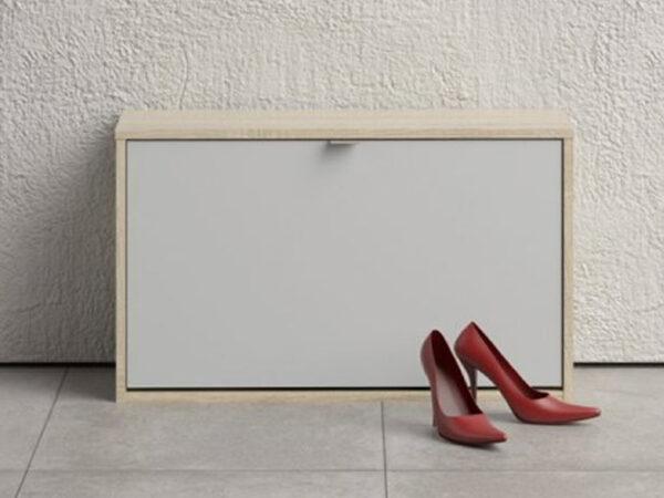 Meuble à chaussures SHANA 1 porte blanc/chêne