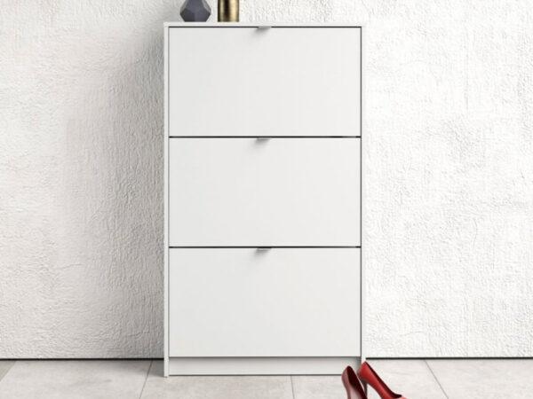 Meuble à chaussures SHANA 3 portes blanc