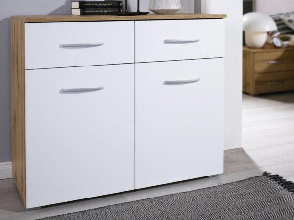 Commode COLUMBO 2 portes 2 tiroirs chêne wotan/blanc alpin