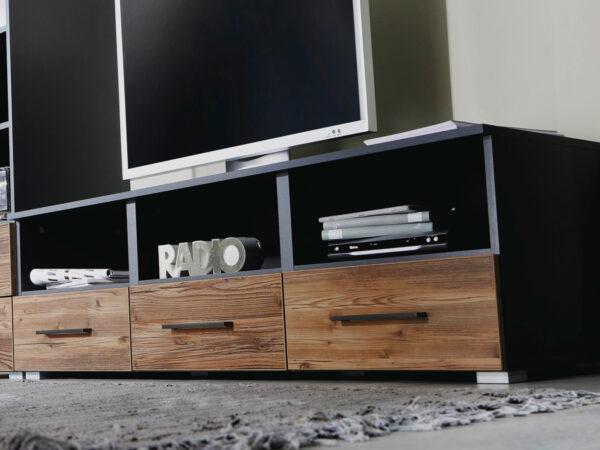 Meuble tv-hifi TOKO 3 niches 3 tiroirs gris métal/brun vintage