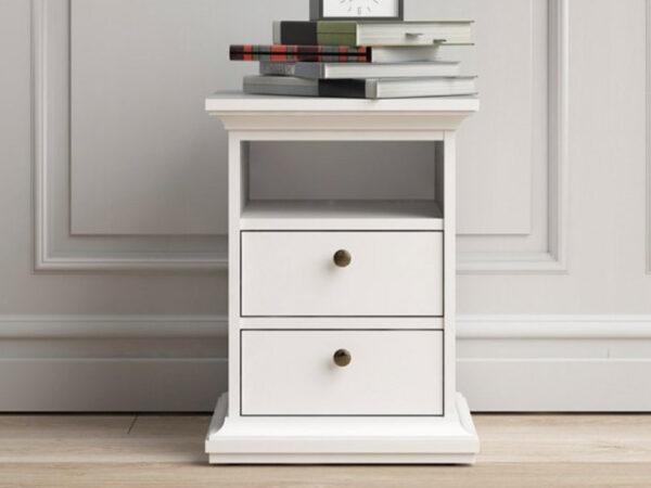 Chevet PARISA 2 tiroirs 1 niche ouverte gris blanc