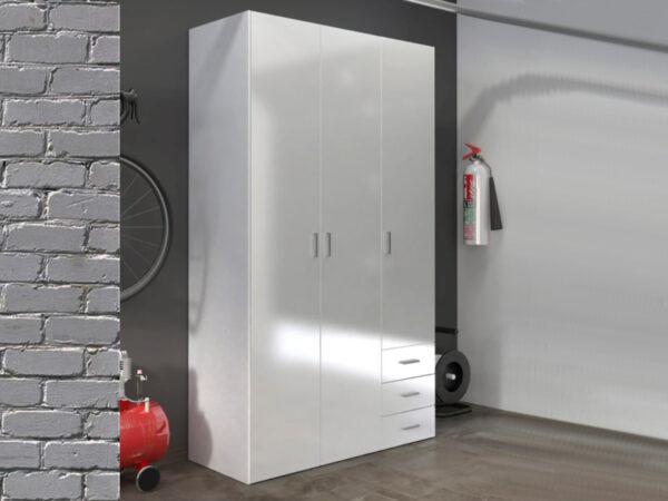 Armoire SPACIO 3 portes 3 tiroirs blanc/blanc brillant